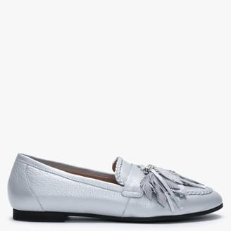 Daniel Nostie Silver Leather Tassel Loafers