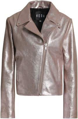 Veda Glittered Leather Biker Jacket