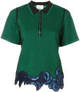 3.1 Phillip Lim sequin embroidered polo shirt - women - Polyester/Spandex/Elastane/Viscose - S