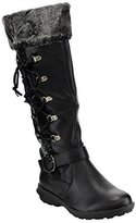 Forever IC16 Women's Side Lace Up Buckle Strap Knee High Winter Boots, Color:, Size:10