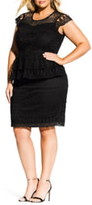 City Chic Bellissima Crochet Overlay Peplum Dress