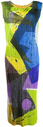 Pleats Please Issey Miyake Micro Pleat Abstract Print Dress