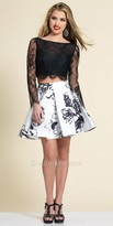 Dave and Johnny Two Piece Embellished Lace and Floral Party Dress