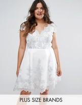 Chi Chi London Plus Premium Metallic Lace Cap Sleeve Dress With Scalloped Back