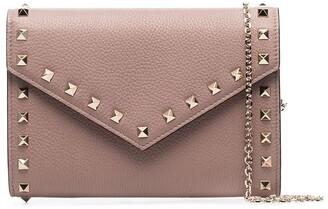 Valentino Rockstud Envelope leather clutch bag