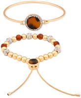 GUESS Gold-Tone 2-Pc. Set Multi-Stone Bangle & Beaded Slider Bracelets