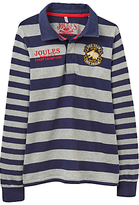 Joules Little Joule Boys' Junior Arnie Striped Rugby Top, Navy