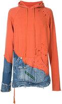 Greg Lauren - patchwork zipped hoodie - men - Cotton - 4