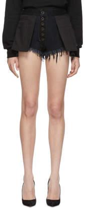 Unravel Black Denim Reversed Shorts