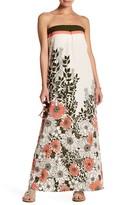 Love Stitch Retro Floral Print Strapless Maxi Dress