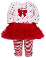Little Me Two-Piece My First Christmas Bow Dress and Leggings Set