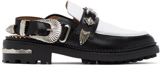 Toga Pulla Black and White Leather Mule Loafers