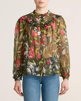 French Connection Floretta Floral Ruffle Long Sleeve Blouse