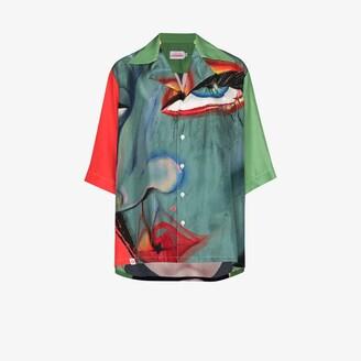 Charles Jeffrey Loverboy Blue Hawaiian Graphic Print Silk Shirt