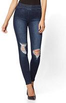 New York & Co. Soho Jeans - Destroyed High-Waist Pull-On Ankle Legging - Indigo Blue Wash - Tall