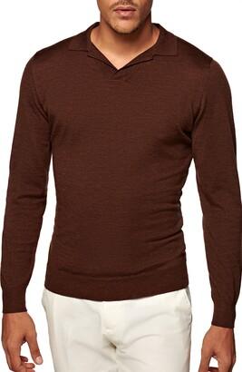 Suitsupply Merino Wool Long Sleeve Polo Shirt