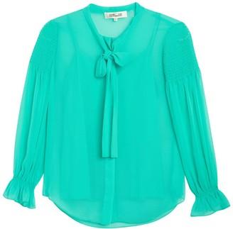 Diane von Furstenberg Caroline Tie Neck Long Sleeve Tunic Blouse