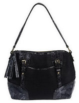 B. Makowsky As IsB. Makow sky Soft Straw Zip Top Should er Bag w/Python