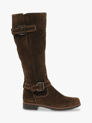 Gabor Nevada Suede Buckle Detail Knee High Boots, Whiskey