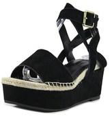 Kensie Ks162050 Women Open Toe Suede Black Wedge Sandal.