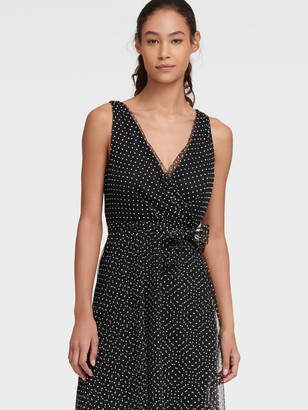DKNY Women's Mesh Polka-dot Faux Wrap Dress - Black/White - Size 14