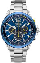 Seiko Men's Solar Chronograph Jimmie Johnson Special Edition Stainless Steel Bracelet Watch & Interchangeable Strap 45mm SSC505
