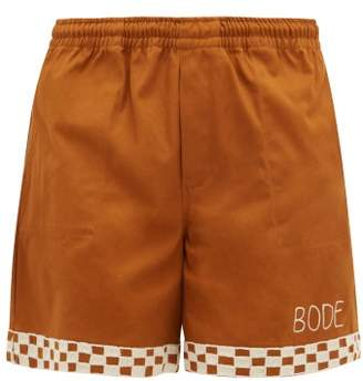 Bode - Checkerboard Embroidered Cotton Shorts - Mens - Brown
