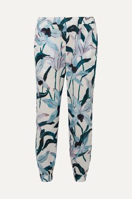 Tory Burch Floral-print Cotton-voile Pants - White