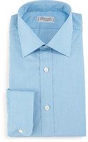 Charvet Check Barrel-Cuff Dress Shirt, Teal