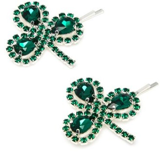 Art School Clover Crystal-embellished Hair Slides - Green