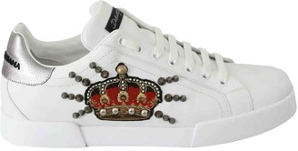 Dolce & Gabbana Portofino White Leather Trainers
