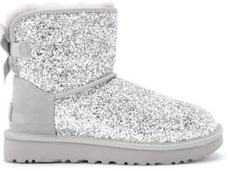 UGG Classic Mini Cosmos Ankle Boots Silver In Sheepskin With Sequins