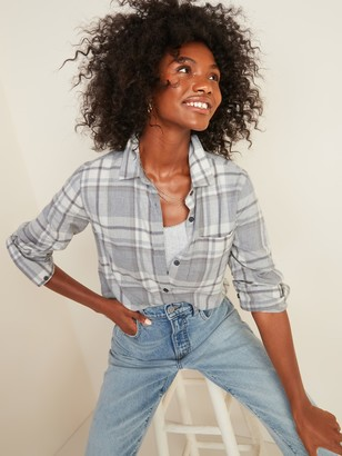 Old Navy Classic Plaid Flannel Chest-Pocket Shirt for Women
