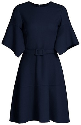Oscar de la Renta Flutter Sleeve Belted Dress