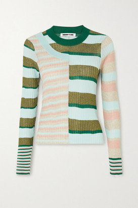 McQ Kingo Paneled Striped Ribbed-knit Sweater - Blush