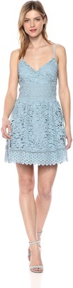 J.o.a. Women's Mixed LACE Sleeveless V Neck FIT and Flare Mini Dress