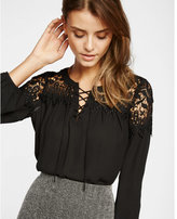 Express lace-up crochet yoke long sleeve blouse