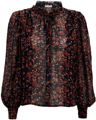 Ulla Johnson Edith Lurex Floral Chiffon Blouse