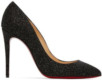 Christian Louboutin Black Glitter Pigalles Follies 100 Heels