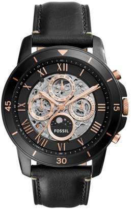 Fossil Grant Sport Automatic Black Leather Watch Jewelry