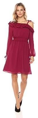 Ella Moon Women's Raine Asymmetrical Ruffle One Shoulder Dress with Bow Strap