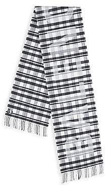 Balenciaga Men's Logo Tartan Wool Scarf