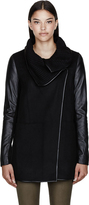 Mackage Black Wool & Leather Chic Cornelia Coat