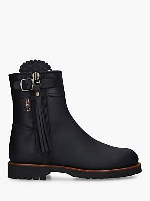 Penelope Chilvers Leather Cropped Tassel Boots, Black