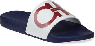 Salvatore Ferragamo Men's Groove 6 Gancini Rubber Slide Sandals