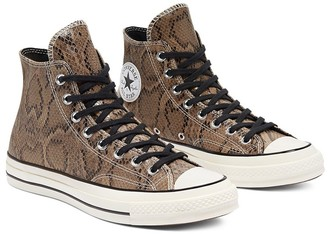 Converse Chuck 70 Hi Archive Reptile snake print leather sneakers in brown