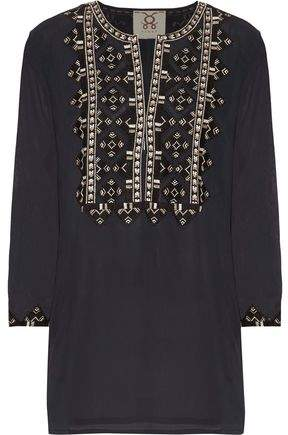 Figue Iris Embroidered Crepe De Chine Tunic