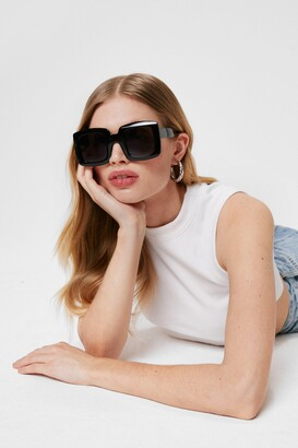 Nasty Gal Womens Oversized Square Frame Tinted Sunglasses - Black - One Size