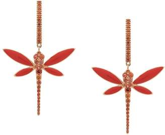 Anapsara 18kt rose gold Dragonfly coral and sapphire earrings