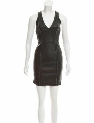 Alice + Olivia Leather Mini Dress w/ Tags Black